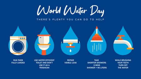 Ilustración infográfica del Día Mundial del Agua con información sobre ayuda doméstica desde casa. Actividades de baños, cañerías y agua corriente para campaña de sensibilización o proyecto educativo.