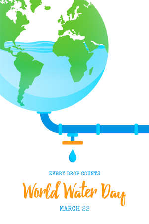 World Water Day illustration for climate change and environment care concept. Blue planet earth with low waters.