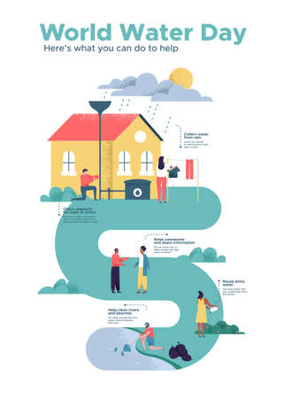 World Water Day infographic illustration about safe clean waters help. Diverse people in eco friendly social community taking sustainable actions for awareness campaign or education project.