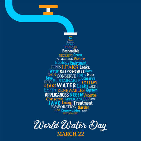 World Water Day illustration for climate change and environment care concept. Running tap waterdrop with quotes.