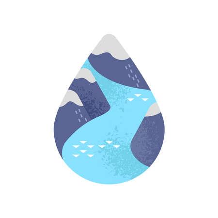 Wasserumweltillustration des blauen Gebirgsflusses innerhalb des Wassertropfens auf lokalisiertem weißem Hintergrund. Bewusstseinskonzept für Klimawandel und schmelzende Eispole.