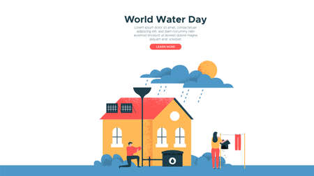 World Water Day illustration, landing page web template of people lifestyle activities in eco friendly house for fresh waters awareness and nature help.
