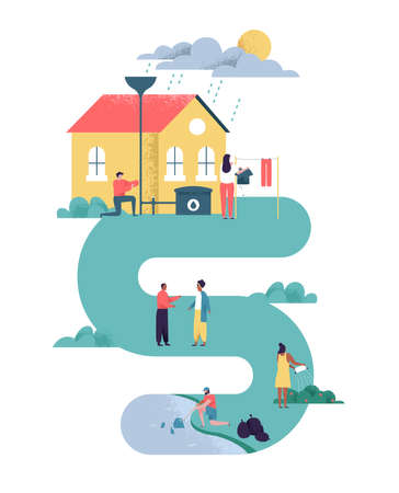 Green eco friendly people community illustration on isolated background. Diverse man and women doing Earth care actions in sustainable neighborhood for environment help awareness.