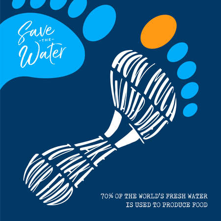 World Water Day illustration with sustainable eco friendly footprint for environment help and safe clean global waters. 70% of the Earth fresh water is used to produce food.