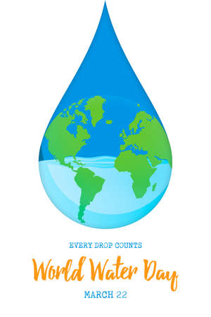 World Water Day illustration for climate change and environment care concept. Blue planet earth in waterdrop shape. Illustration