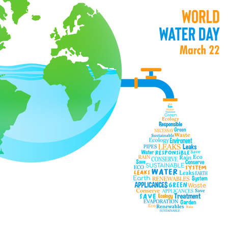 World Water Day illustration for climate change and environment care concept. Blue planet earth with waterdrop shape quotes.