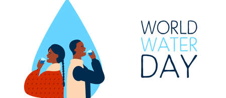 World Water Day web banner illustration of black man and indian woman couple drinking. Safe clean drink waters concept for global Earth environment care awareness.