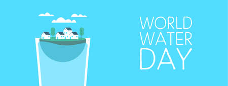 World Water Day web banner illustration for climate change and environment care concept. Small city floating inside drinking glass.