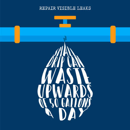 World Water Day illustration with sustainable eco friendly lifestyle information, repair leaks at home to reduce waste.