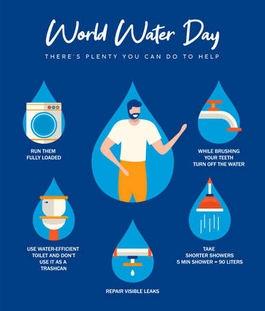 World Water Day infographic illustration with information about domestic help from home. Bathroom, pipes and running waters activities for awareness campaign or education project. Banque d'images - 119057624