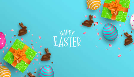 Happy Easter greeting card illustration of colorful 3d eggs, chocolate bunny and gift box. Realistic holiday decoration with typography quote for traditional celebration.