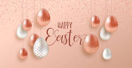 Joyeuses Pâques illustration de carte de voeux de luxe. Oeufs en cuivre rose 3d réalistes avec éclaboussures de paillettes pour les vacances de printemps traditionnelles.