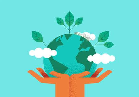 Mains humaines tenant la planète terre avec des feuilles vertes pour un concept écologique. Illustration d'aide à l'environnement ou à la nature. Vecteurs