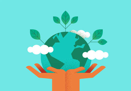 Human hands holding planet earth with green leaves for eco friendly concept. Environment care or nature help illustration.