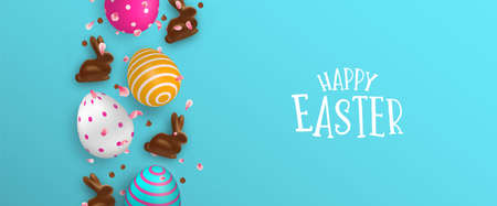 Happy Easter banner illustration of colorful 3d eggs, chocolate bunny and spring flower petals. Realistic holiday decoration with typography quote for traditional celebration. Illustration