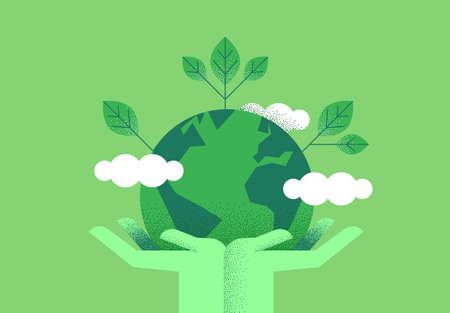 Mains humaines tenant la planète terre avec des feuilles vertes pour un concept écologique. Illustration d'aide à l'environnement ou à la nature.