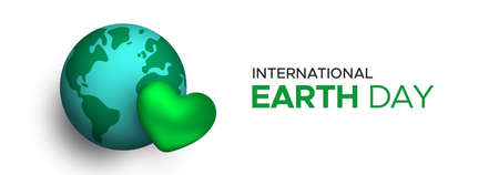International Earth Day web banner illustration concept for planet love or nature care. Green 3d heart and world globe with holiday typography quote. Stock Illustratie