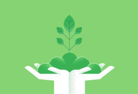 Human hands with green plant leaves growing for eco friendly concept. Environment care or nature help illustration.