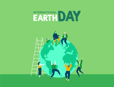International Earth Day illustration of young people friend group celebrating. World environment and nature care concept for social support. Stock Illustratie