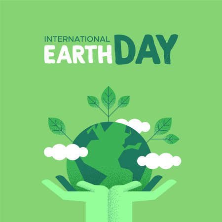 International Earth Day illustration of green human hands holding planet with leaves. Social environment care awareness concept.