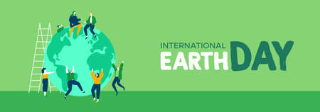 International Earth Day web banner illustration of young people friend group celebrating. World environment and nature care concept for social support.  Stock Illustratie
