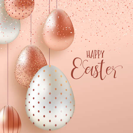Happy Easter luxury greeting card illustration. Realistic 3d pink copper eggs with glitter splash for traditional spring holiday. Illustration