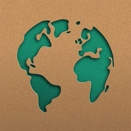 Papercut world map illustration. Green cutout earth in recycled paper for planet conservation awareness. Archivio Fotografico - 122042228