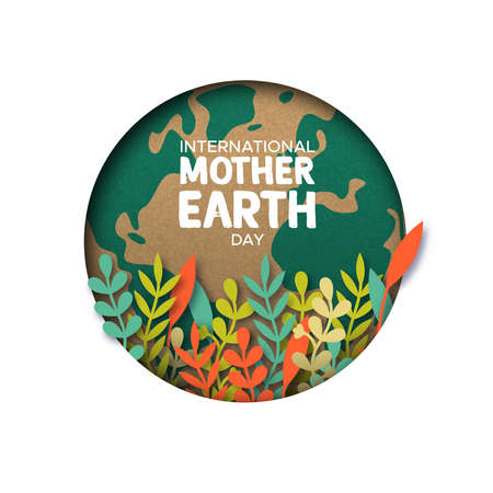 International Mother Earth Day papercut illustration. Colorful leaves inside world map cutout in recycled paper. Archivio Fotografico - 122042229