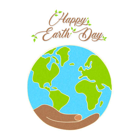 International Earth Day illustration. Human hand holding planet for nature care and social environment awareness.