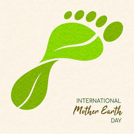 Giornata internazionale della Terra illustrazione del concetto di impronta di carbonio. Foglie verdi che formano la forma del piede per la cura dell'ambiente.