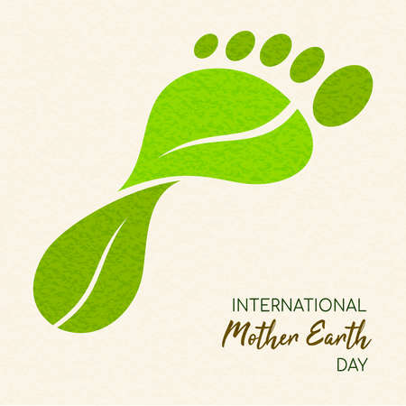 Internationaler Tag der Erde Illustration des Carbon Footprint-Konzepts. Grüne Blätter, die eine Fußform für die Umweltpflege bilden.
