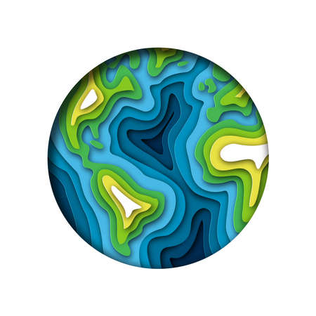 Papercut world map illustration. Green cutout earth in layered paper for planet conservation. Illustration