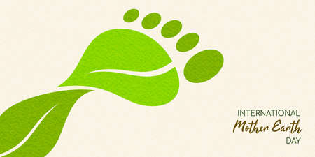 International Earth Day illustration of carbon footprint concept. Green leaves making foot shape for environment care. Stock Illustratie