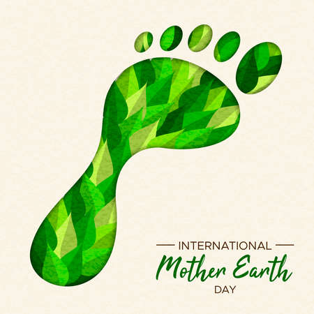 International Earth Day illustration of carbon footprint concept. Green papercut forest leaves in foot cutout shape for nature care. Archivio Fotografico - 122042233