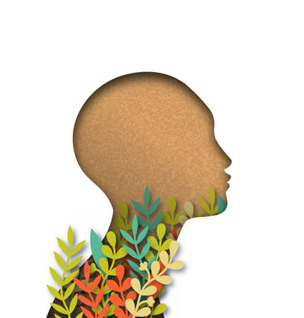 Papercut woman head with colorful plant leaves inside and copy space. Recycled paper cutout for environment conservation awareness concept.