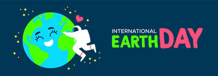 International Earth Day web banner illustration of happy astronaut hugging planet in space. World environment celebration concept.