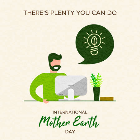 International Earth Day illustration. Save the world concept for people at home and social environment awareness. Stock Illustratie