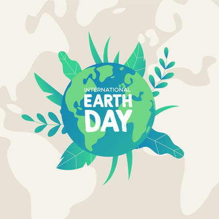 International Earth Day illustration. Green planet with tropical plant leaves for nature care and environment help.