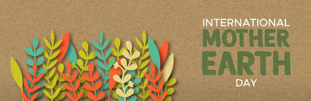 International Mother Earth Day web banner illustration of colorful papercut leaves on recycled paper background.