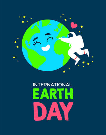 International Earth Day illustration of happy astronaut hugging planet in space. World environment celebration concept.