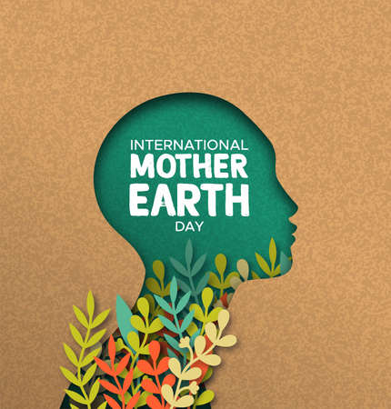International Mother Earth Day poster illustration of papercut woman head with colorful plant leaves inside. Recycled paper cutout for environment conservation awareness.