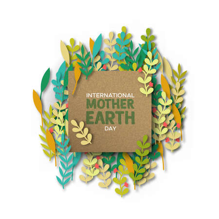 International Mother Earth Day illustration. Recycled paper frame on papercut color leaves for eco friendly concept. Vector Illustratie