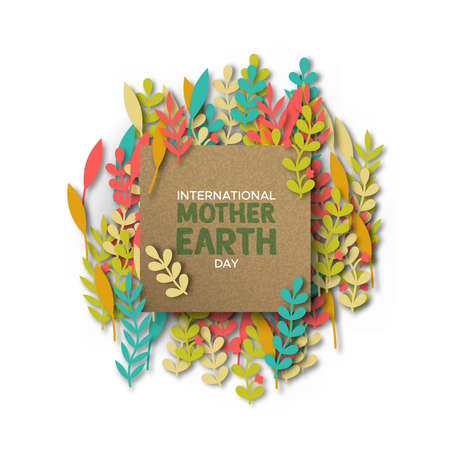 International Mother Earth Day illustration. Recycled paper frame on papercut color leaves for eco friendly concept.