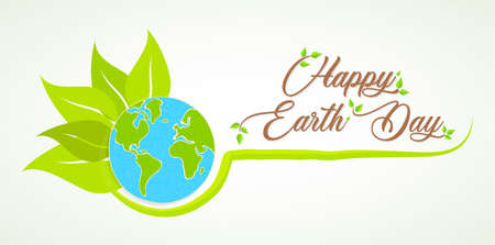 International Earth Day illustration. Green planet with plant leaves for nature care and environment help. Stock Illustratie