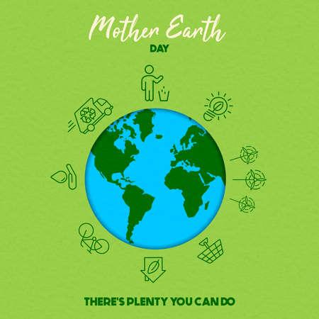Illustrazione della Giornata internazionale della terra. Salva il concetto del mondo per attività eco-compatibili e consapevolezza dell'ambiente sociale.