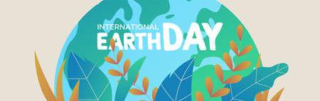 Illustration de la bannière de la Journée internationale de la Terre. Planète verte avec des feuilles de plantes tropicales pour les soins de la nature et l'aide à l'environnement.