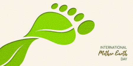 International Earth Day illustration of carbon footprint concept. Green papercut leaves making foot shape for environment care. Stock Illustratie