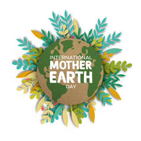 International Mother Earth Day illustration. Recycled world map paper frame on papercut color leaves for eco friendly concept. Illustration
