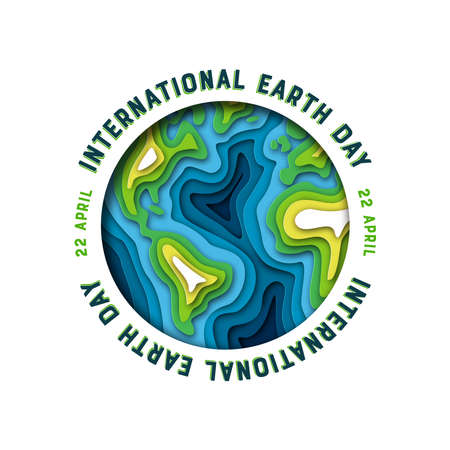 International Mother Earth Day illustration of green papercut world map. Layered paper cutout for planet conservation.