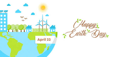 International Earth Day banner illustration. Green city inside planet for nature care and social environment awareness.